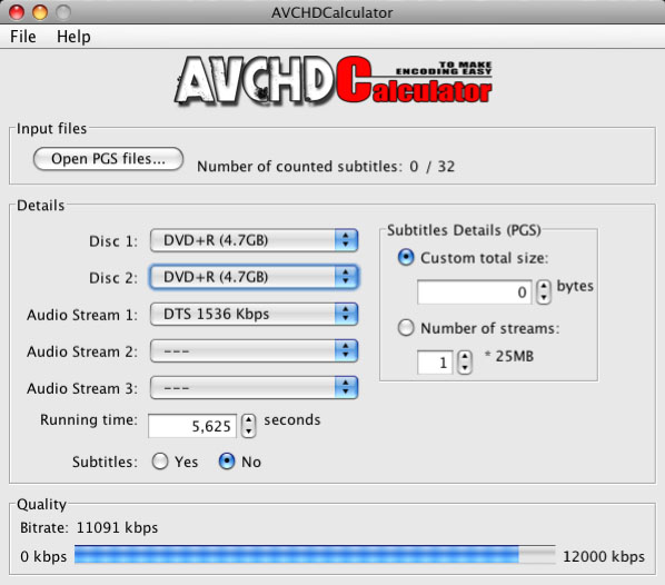 AVCHDCalculator for Mac OS X 1.2 full