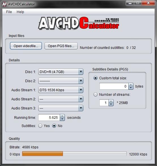 AVCHDCalculator for Windows 1.2 full